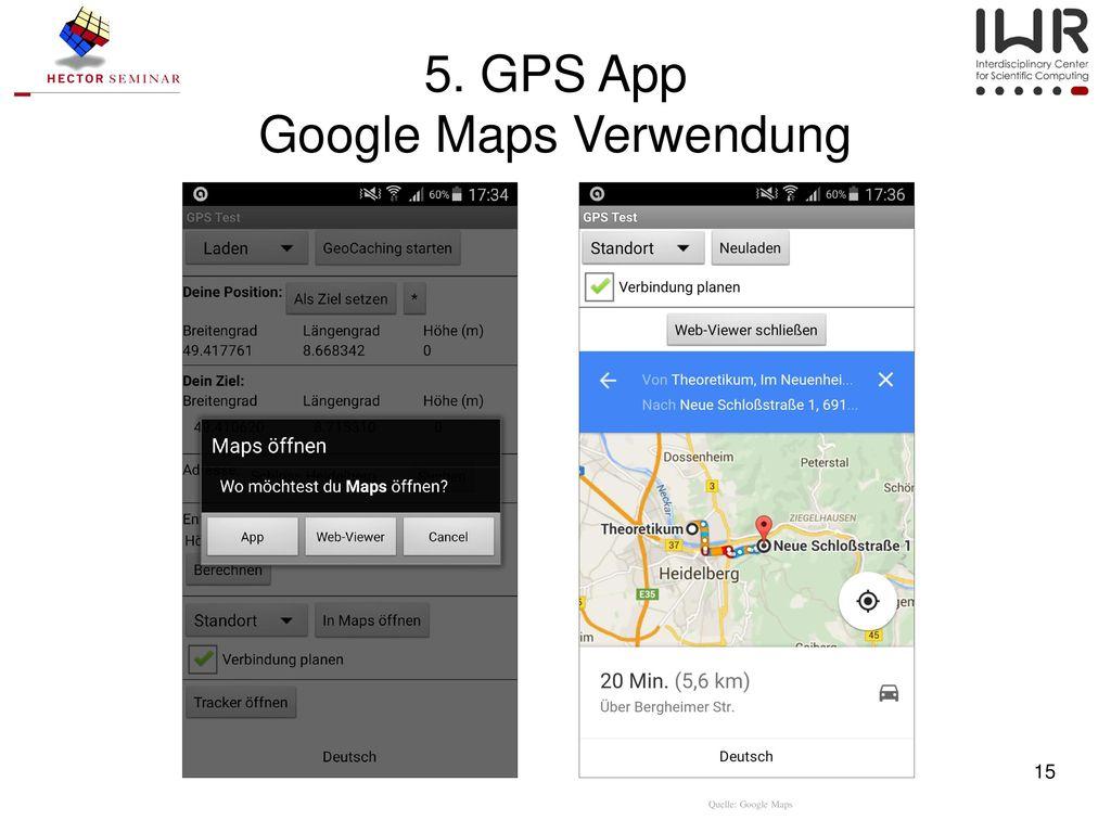 5. GPS App Google Maps Verwendung