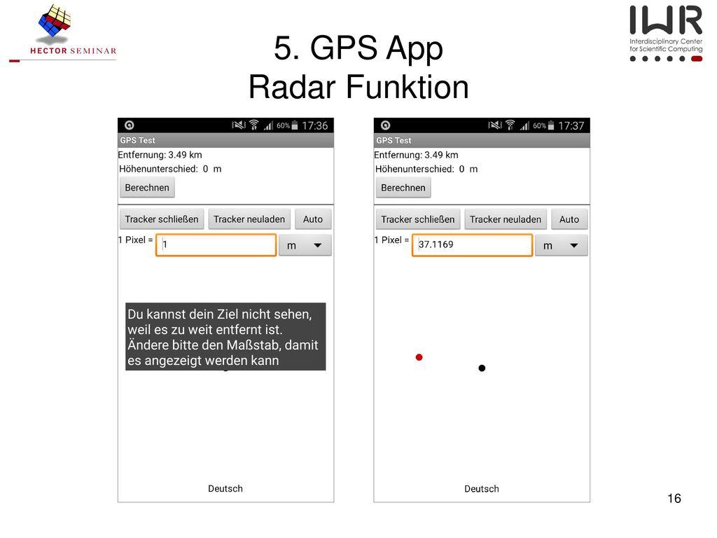 5. GPS App Radar Funktion