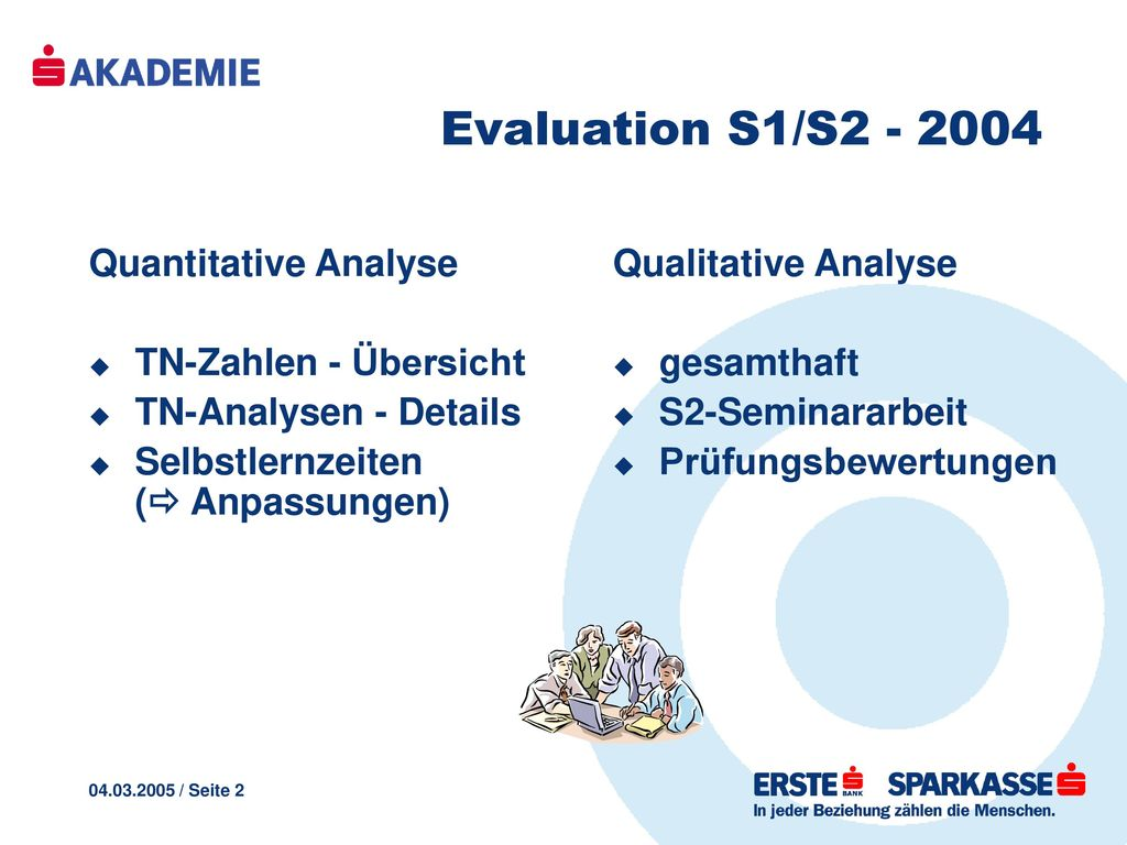 Evaluation S1/S2 - 2004 Quantitative Analyse TN-Zahlen - Übersicht