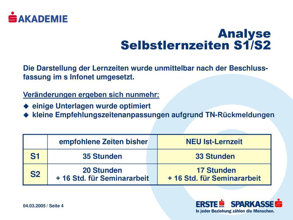 Analyse Selbstlernzeiten S1/S2