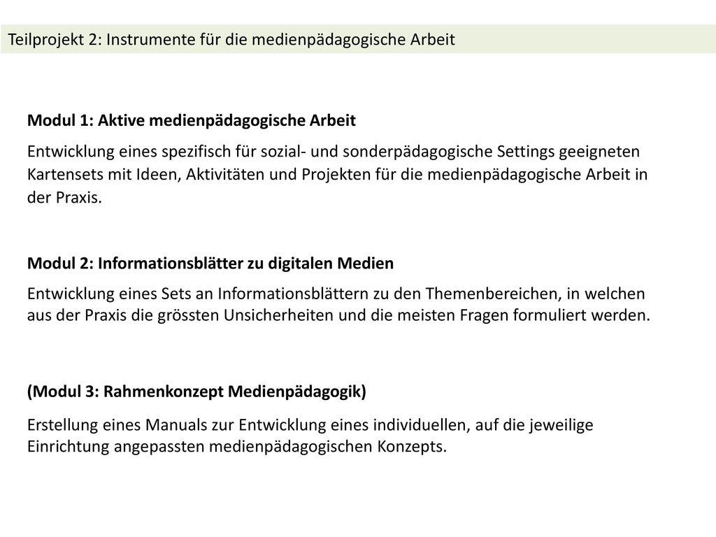 Teilprojekt 2: Instrumente für die medienpädagogische Arbeit