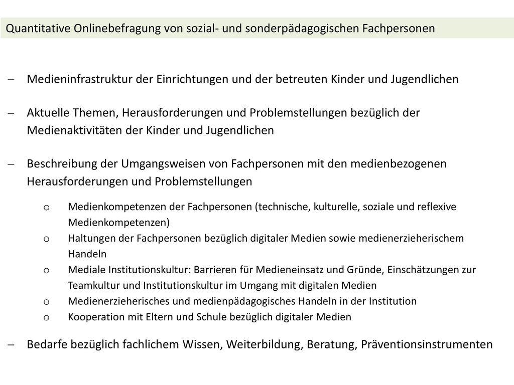 Quantitative Onlinebefragung von sozial- und sonderpädagogischen Fachpersonen