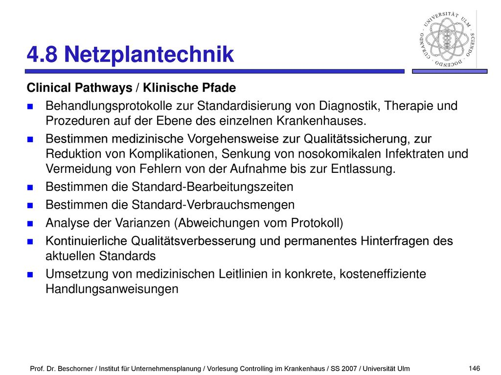 4.8 Netzplantechnik Clinical Pathways / Klinische Pfade
