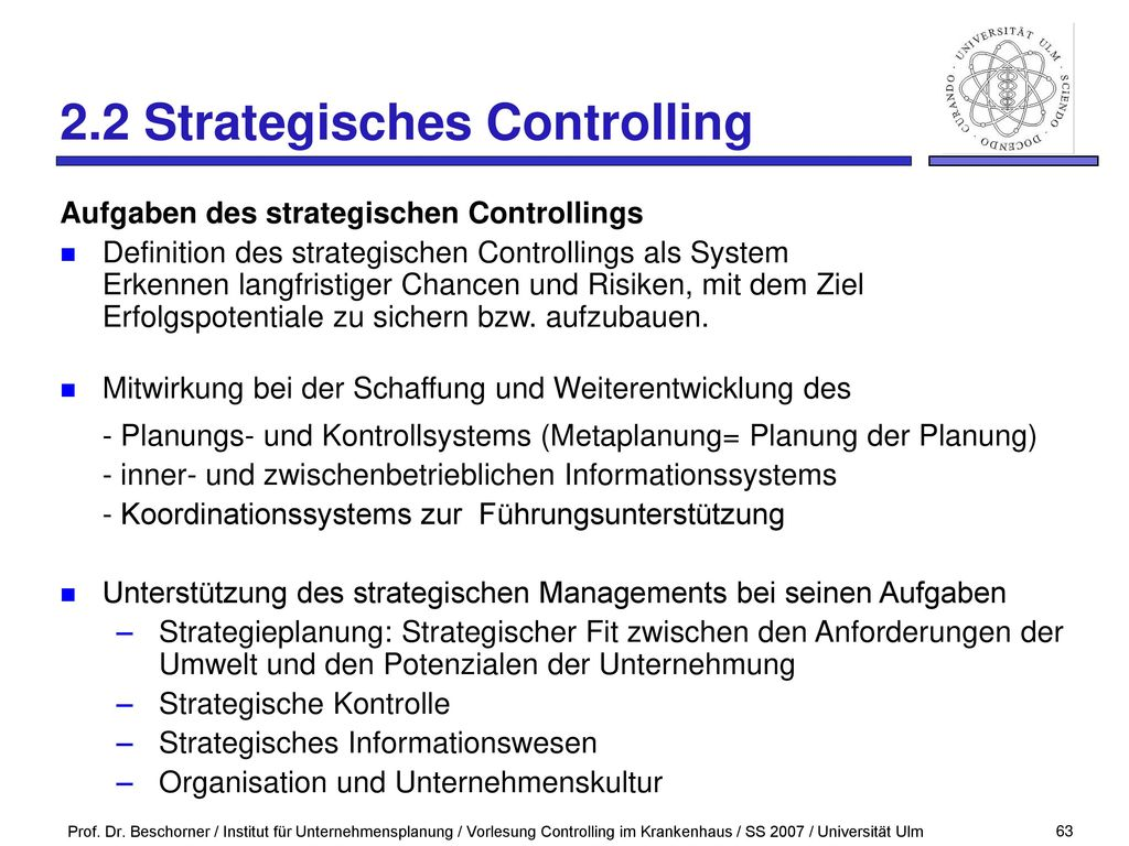2.2 Strategisches Controlling