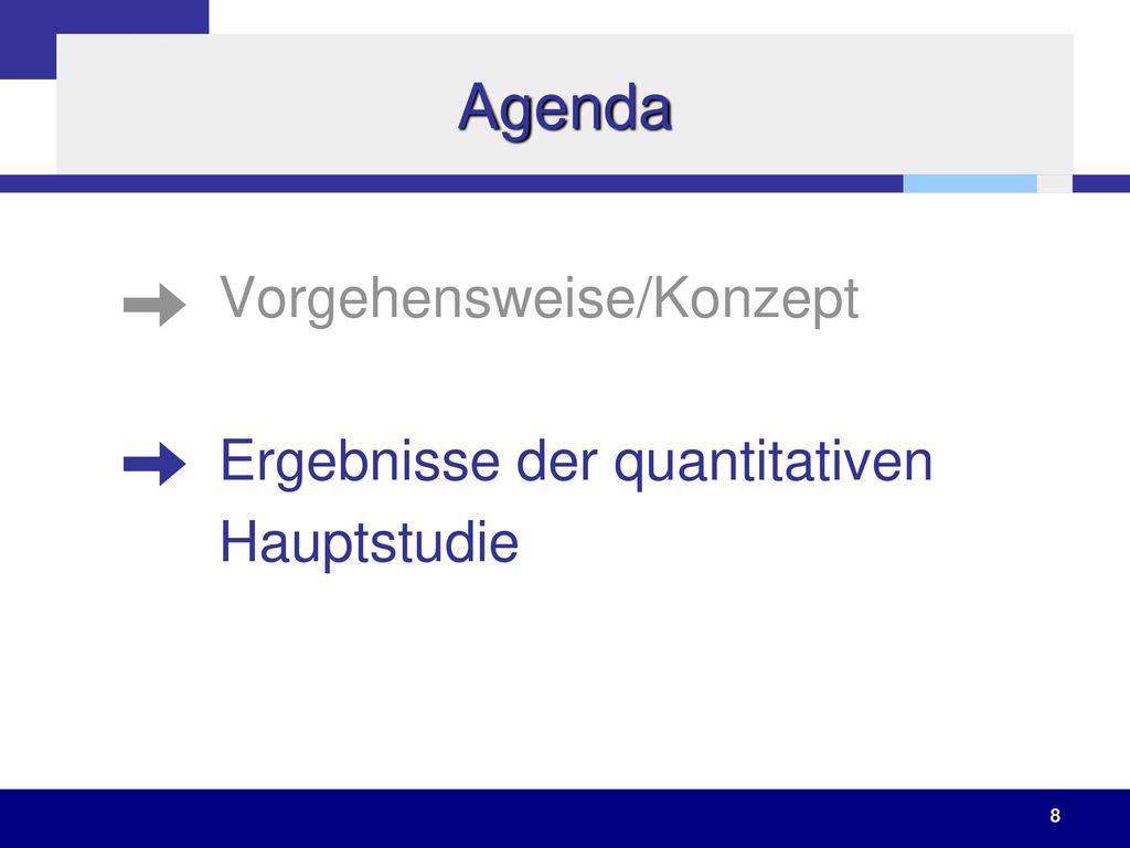 Agenda Vorgehensweise/Konzept Ergebnisse der quantitativen Hauptstudie