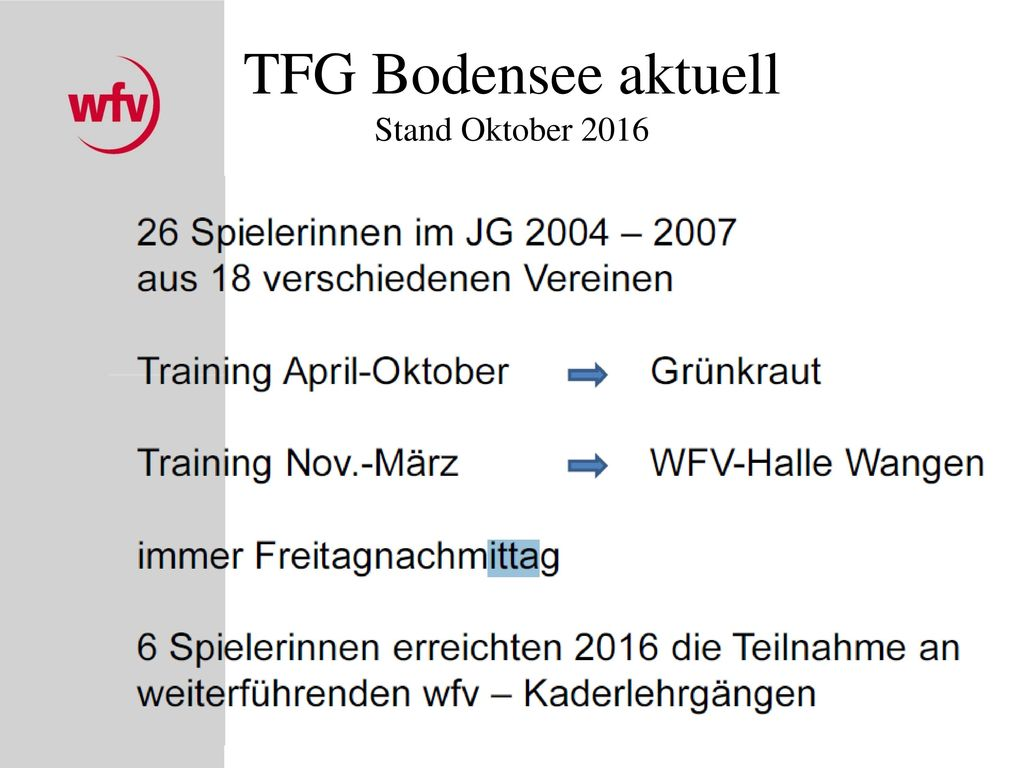 TFG Bodensee aktuell Stand Oktober 2016
