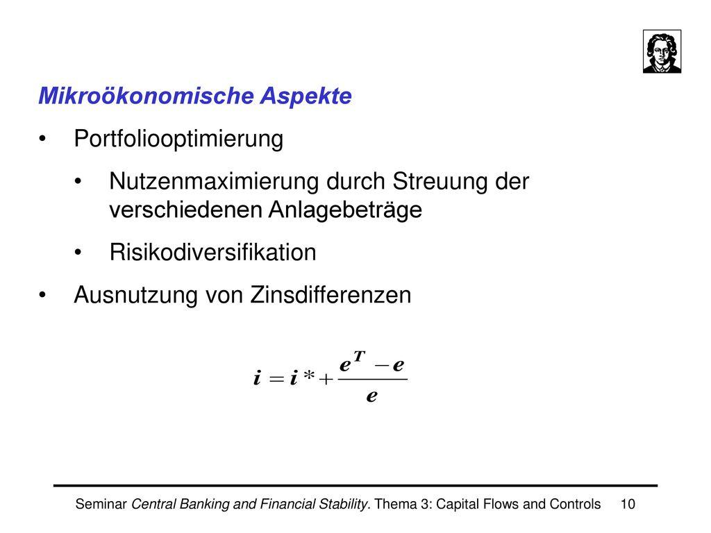 Mikroökonomische Aspekte Portfoliooptimierung