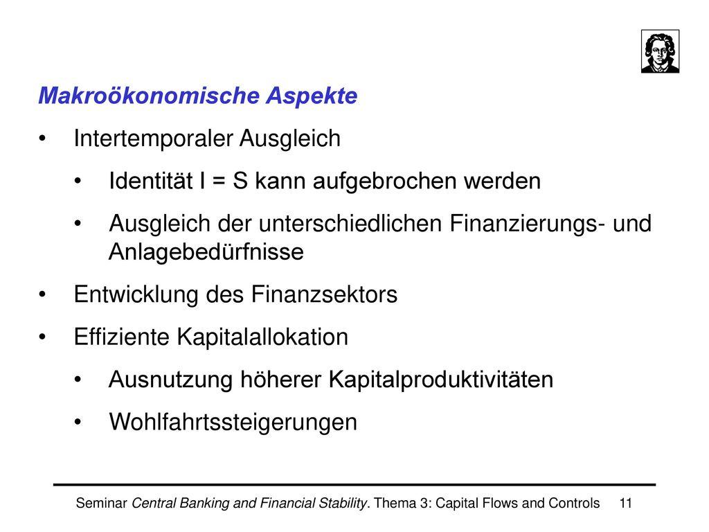 Makroökonomische Aspekte Intertemporaler Ausgleich