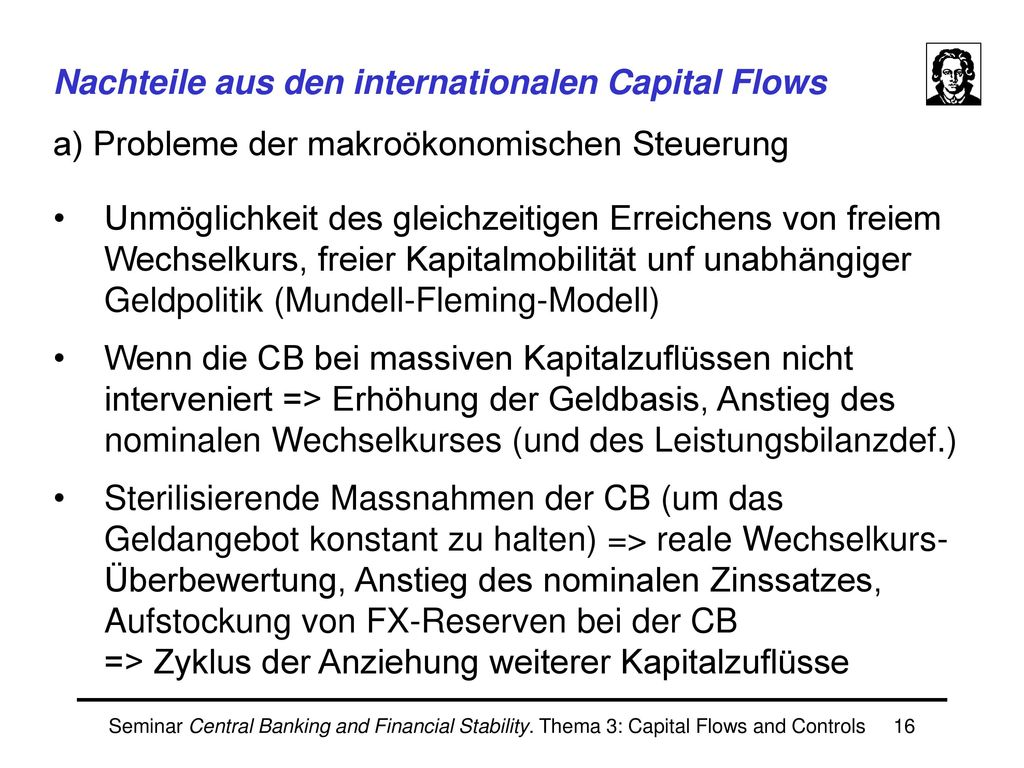 Vorteile aus den internationalen Capital Flows