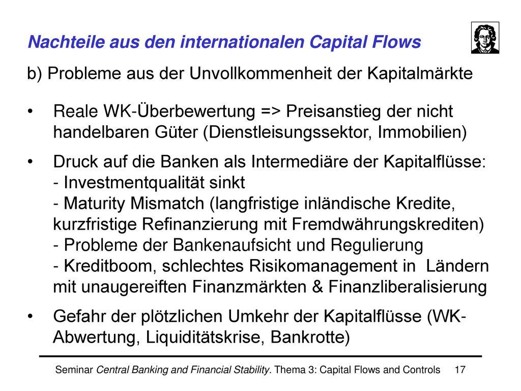 Nachteile aus den internationalen Capital Flows