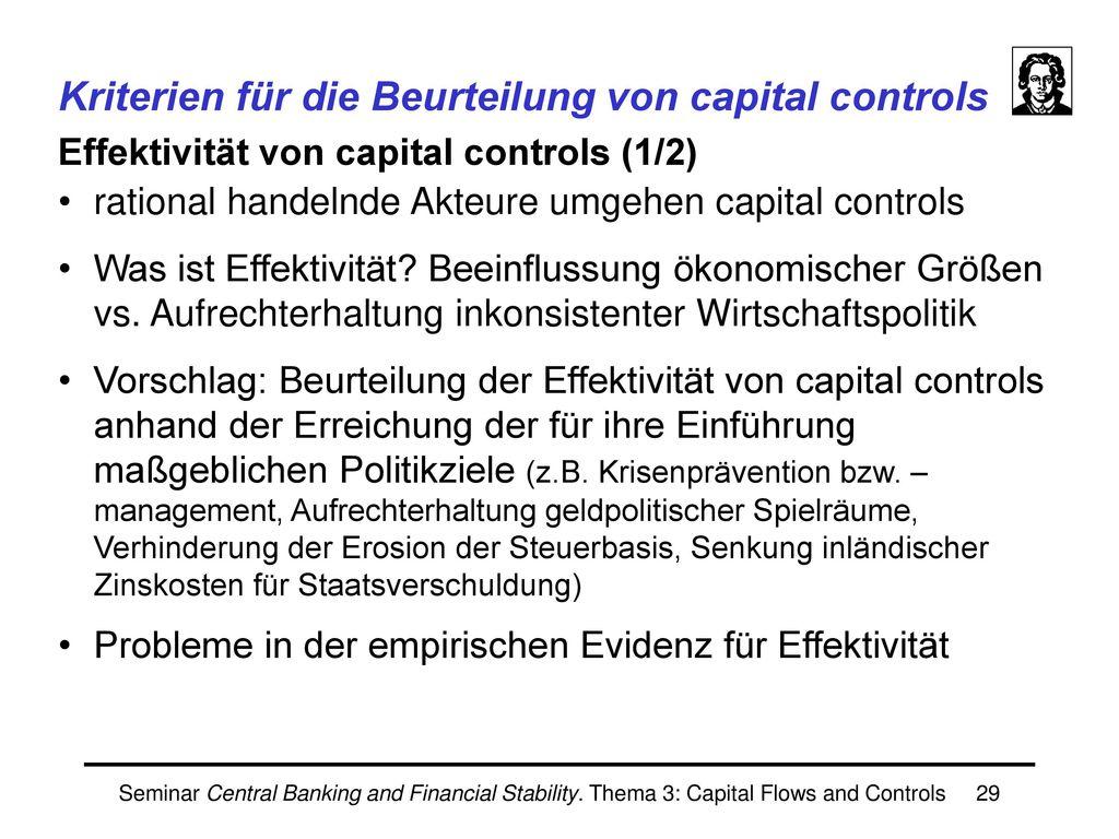 Kriterien für die Beurteilung von capital controls