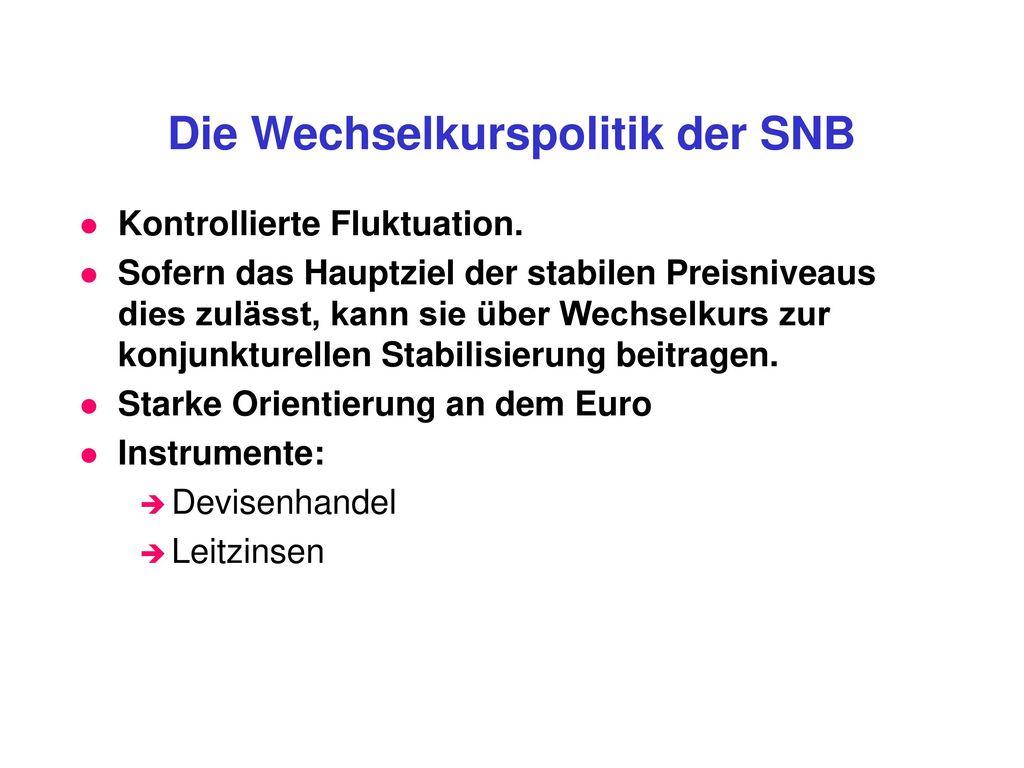 Die Wechselkurspolitik der SNB