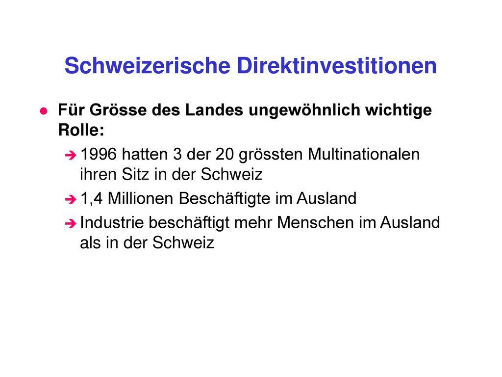 Schweizerische Direktinvestitionen