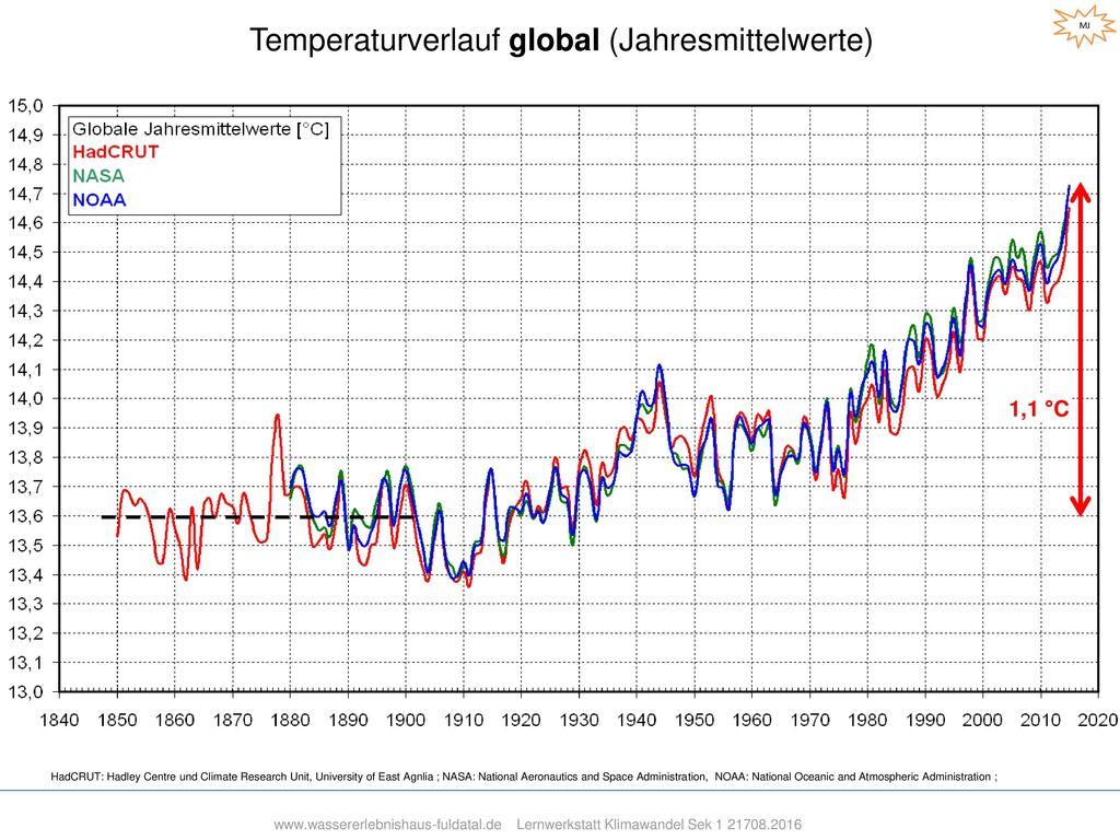 Temperaturverlauf global (Jahresmittelwerte)