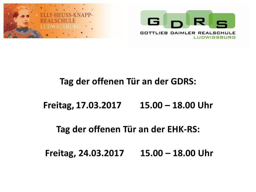 Tag der offenen Tür an der GDRS: Freitag, 17. 03. 2017 15. 00 – 18