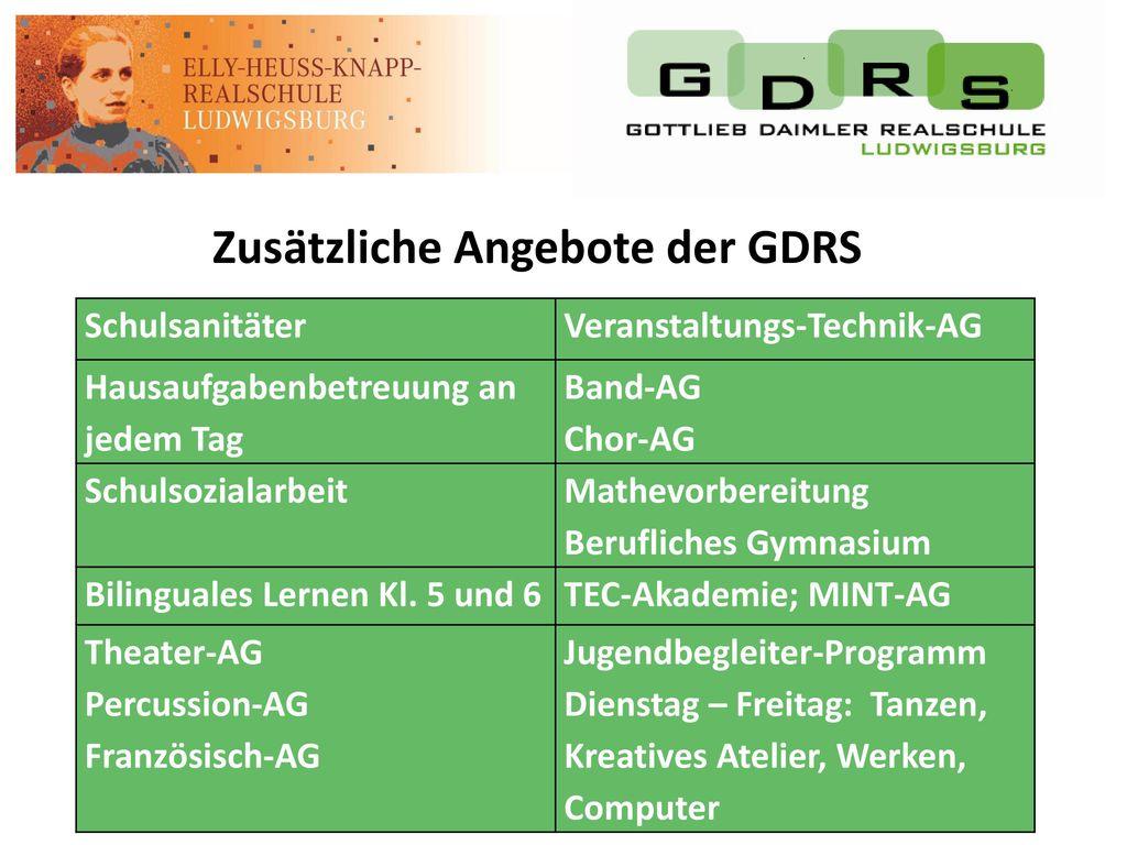Zusätzliche Angebote der GDRS