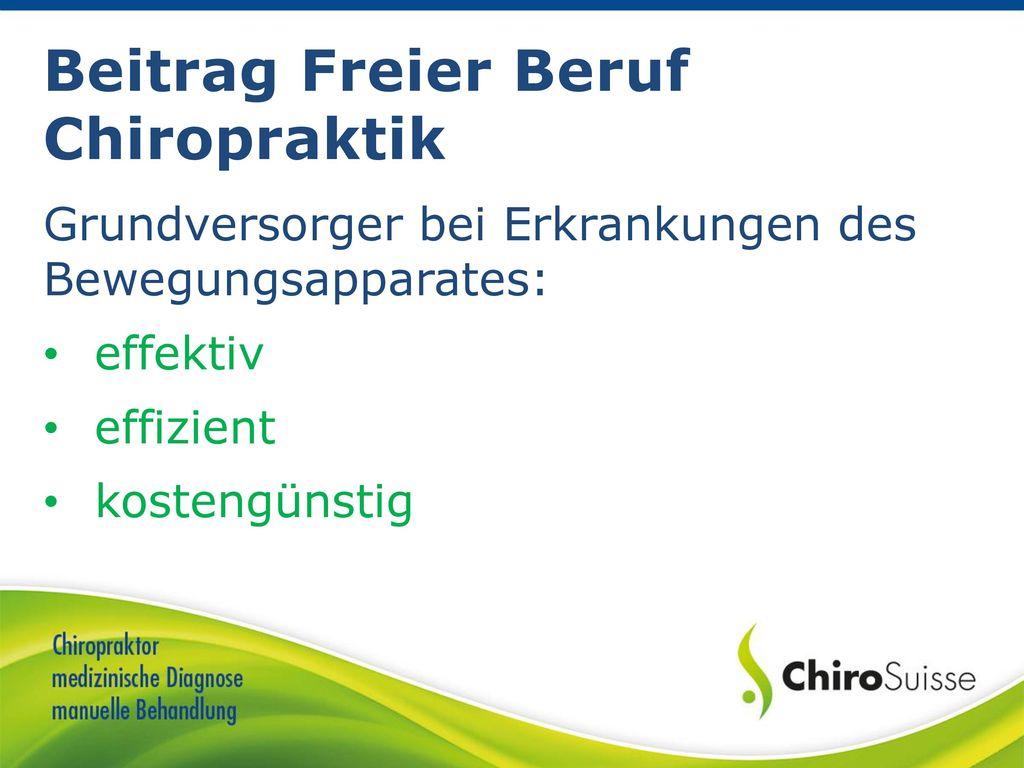 Beitrag Freier Beruf Chiropraktik