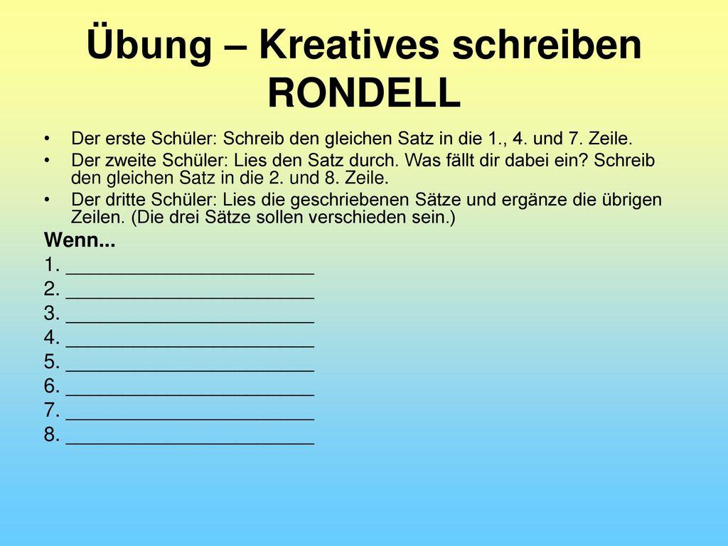 Übung – Kreatives schreiben RONDELL