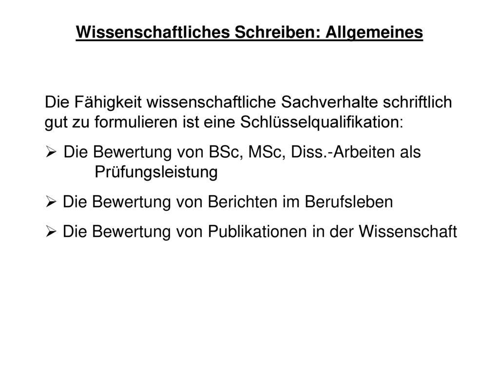 Wissenschaftliches Schreiben: Allgemeines