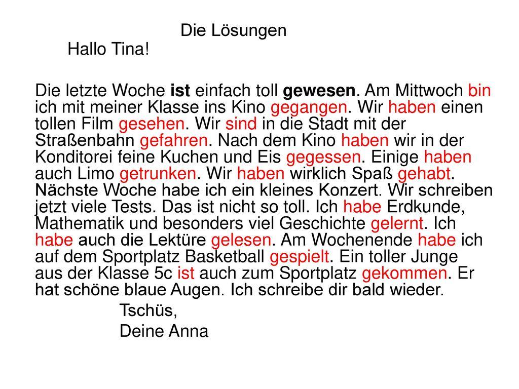 Die Lösungen Hallo Tina!