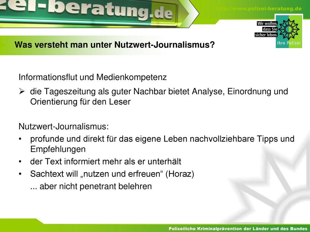 Was versteht man unter Nutzwert-Journalismus