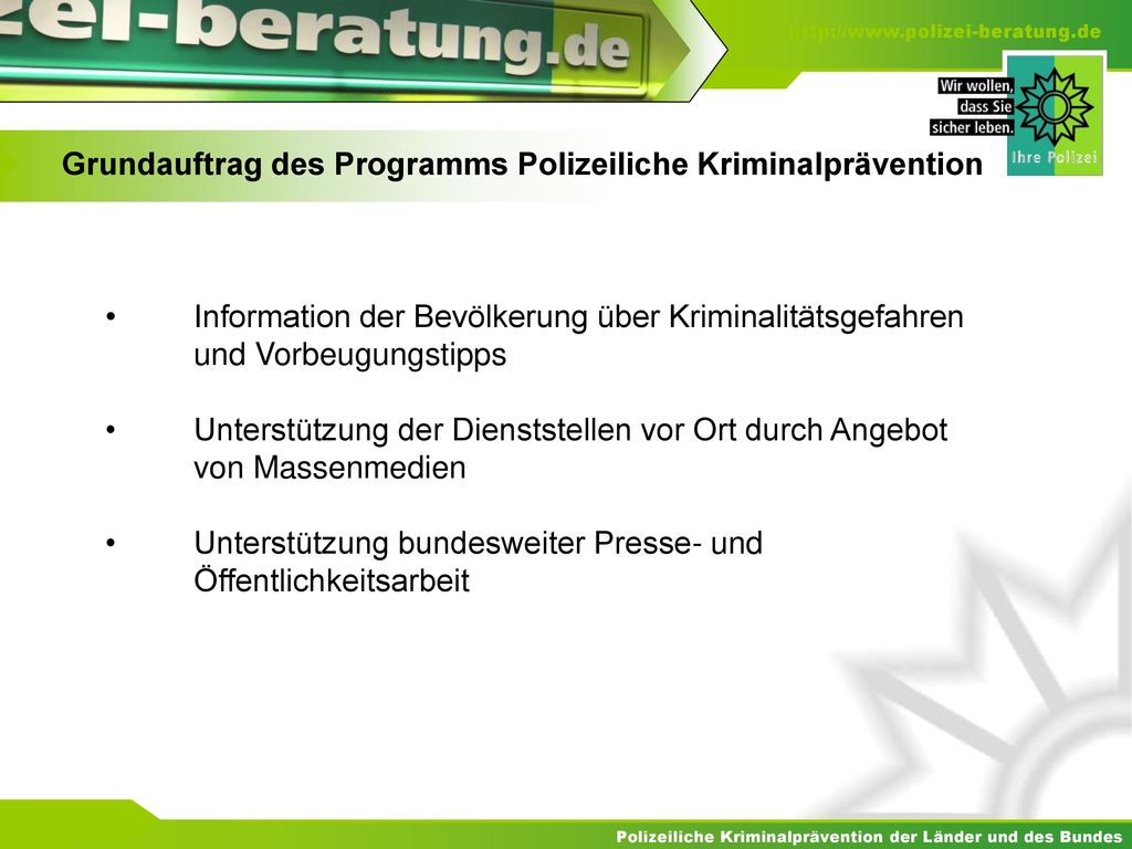 Grundauftrag des Programms Polizeiliche Kriminalprävention