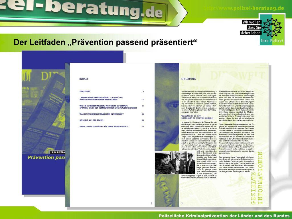 "Der Leitfaden ""Prävention passend präsentiert"