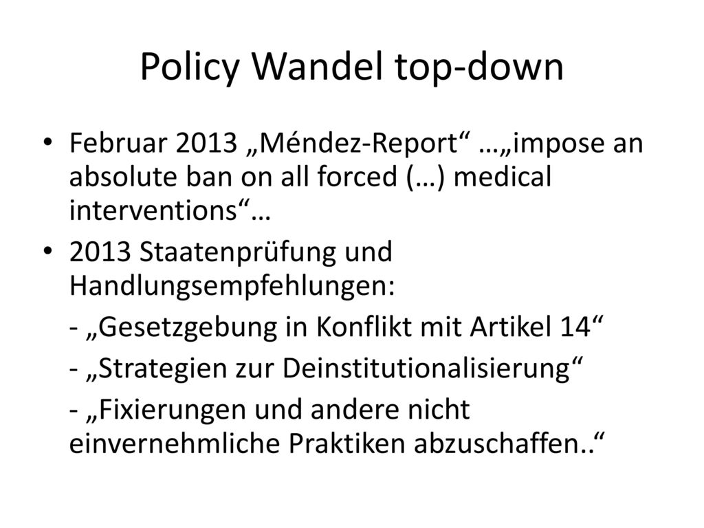 Policy Wandel top-down
