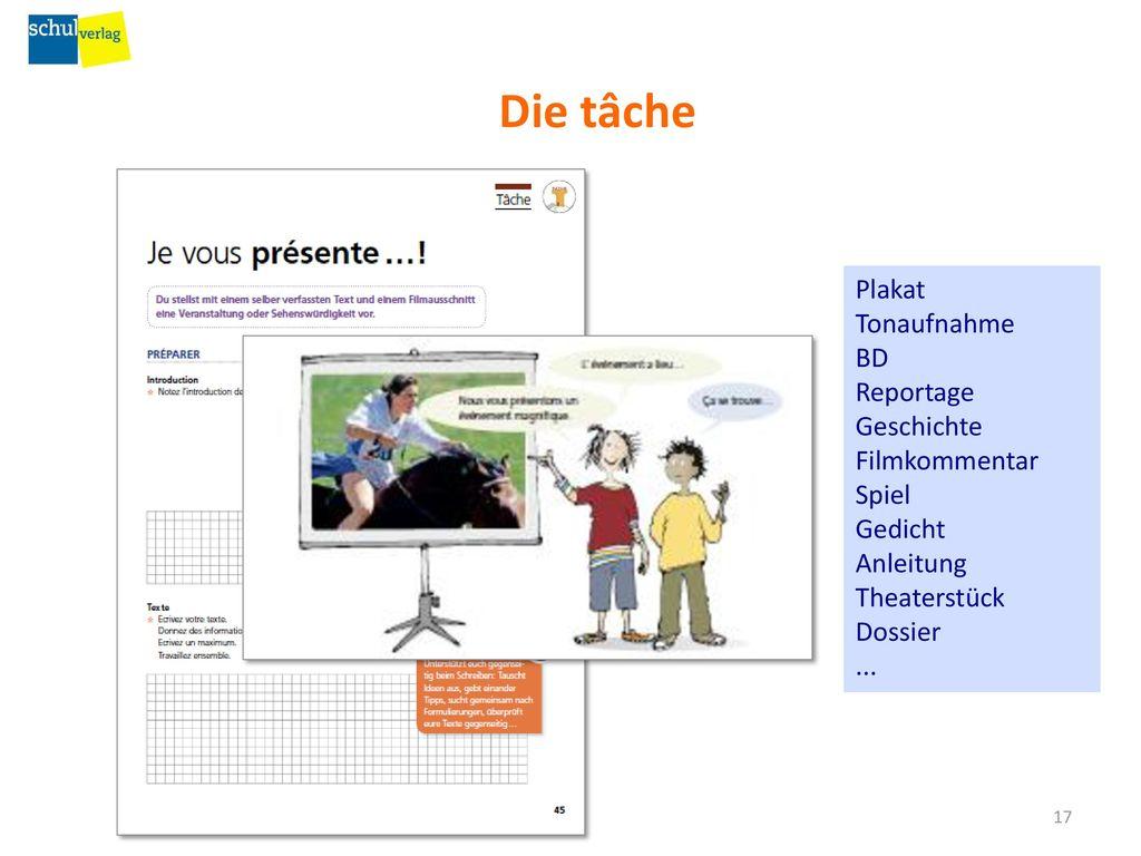 Die tâche Plakat Tonaufnahme BD Reportage Geschichte Filmkommentar