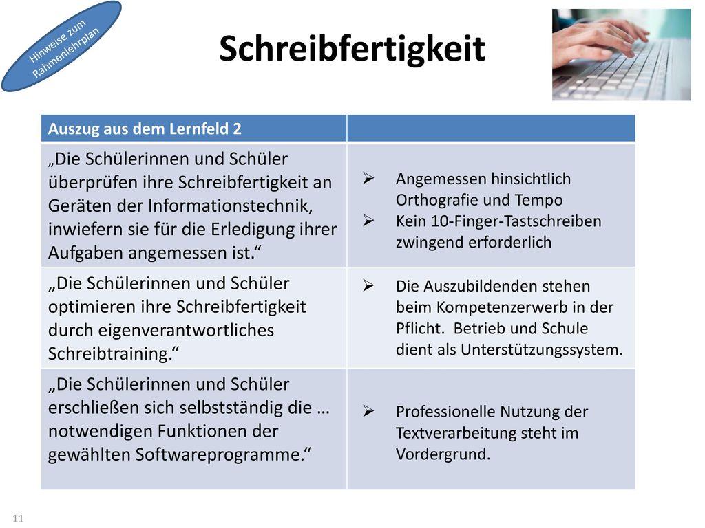 Schreibfertigkeit Hinweise zum. Rahmenlehrplan. Auszug aus dem Lernfeld 2.