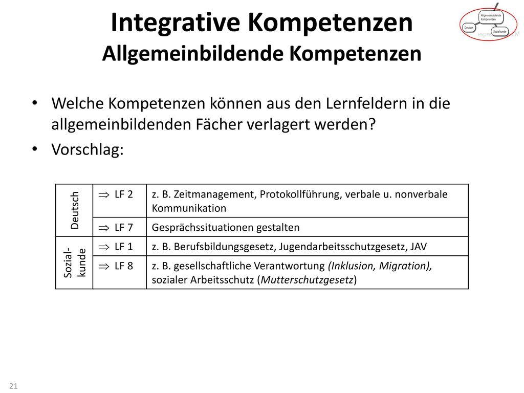 Integrative Kompetenzen Allgemeinbildende Kompetenzen