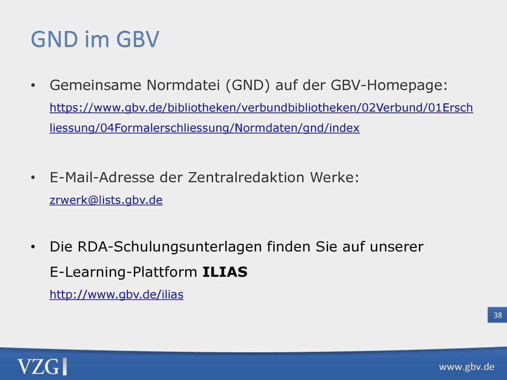GND bei der DNB Erfassungshilfen für die GND
