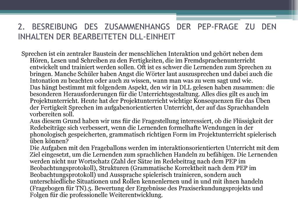 2. BESREIBUNG DES ZUSAMMENHANGS DER PEP-FRAGE ZU DEN INHALTEN DER BEARBEITETEN DLL-EINHEIT