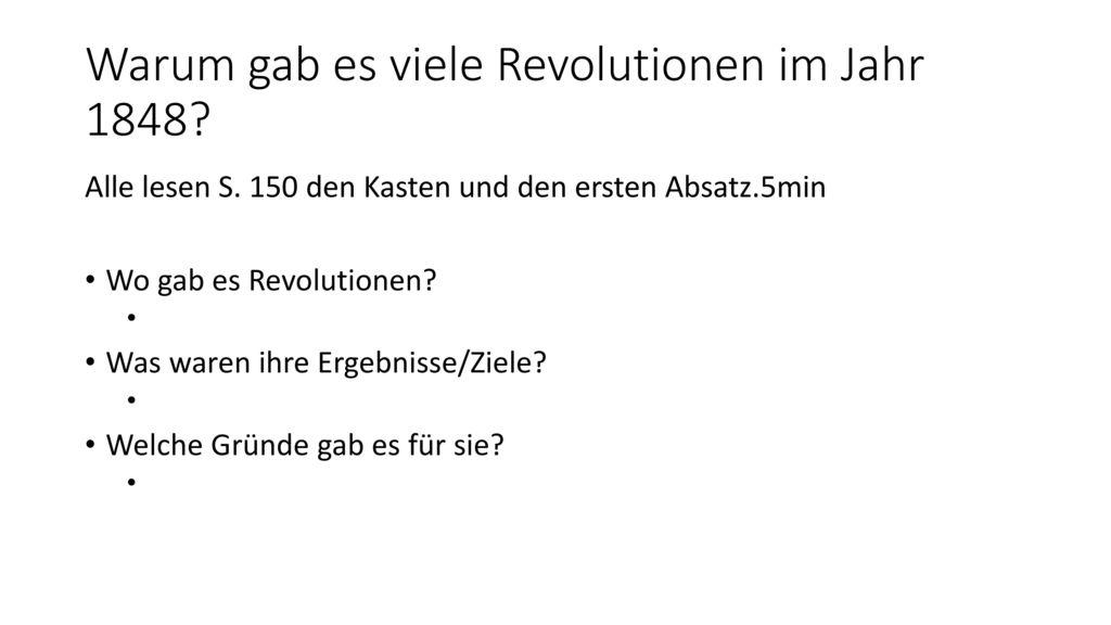 Warum gab es viele Revolutionen im Jahr 1848