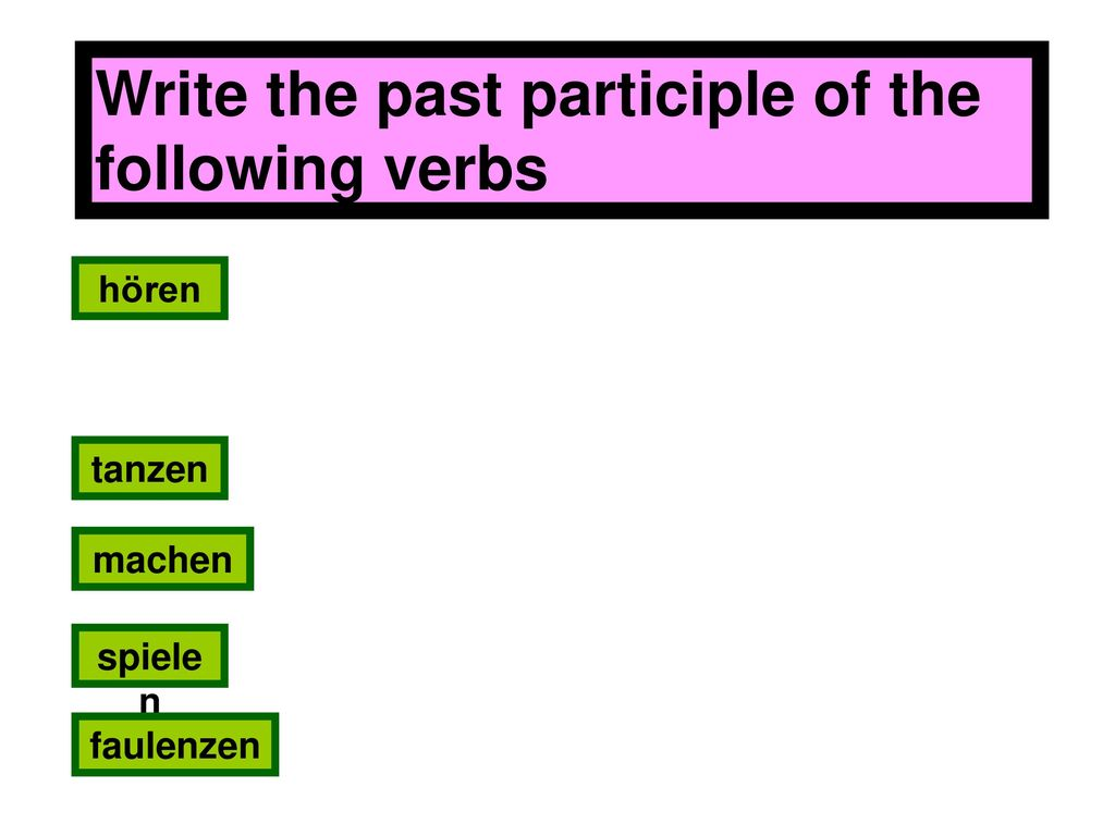 Write the past participle of the following verbs