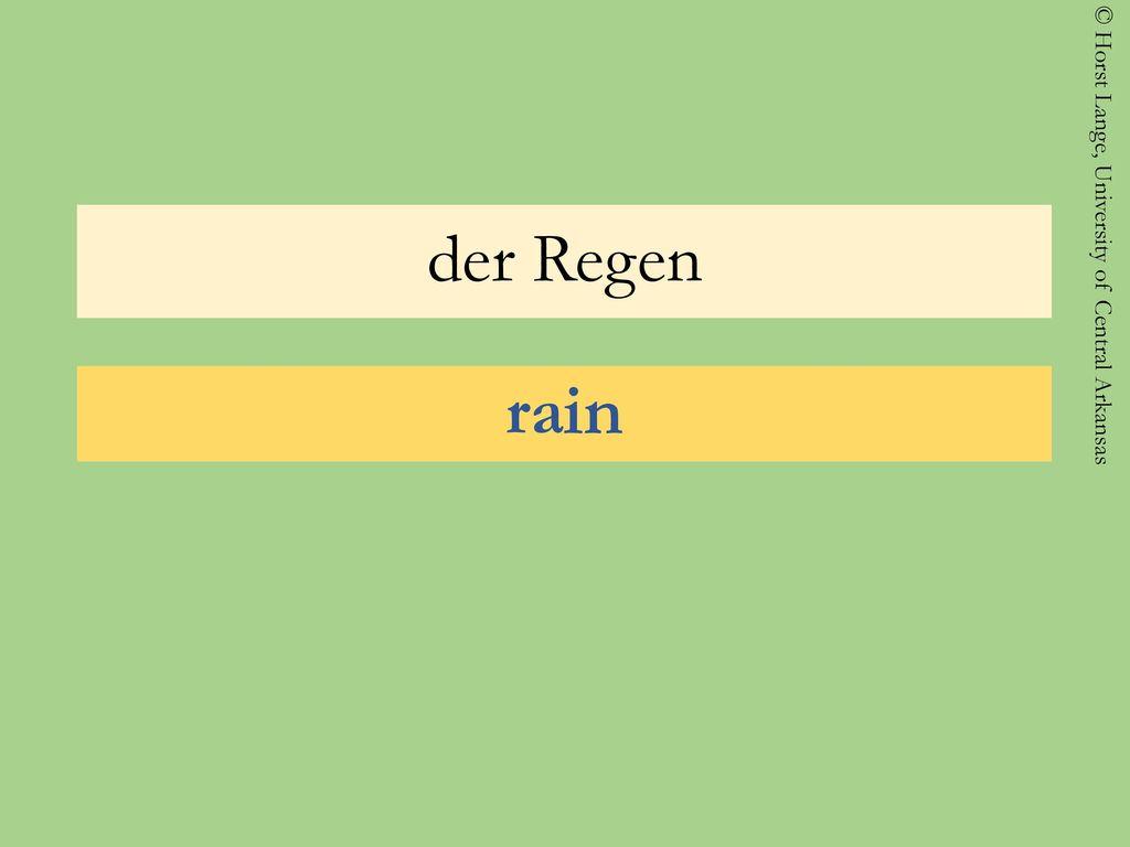 der Regen rain