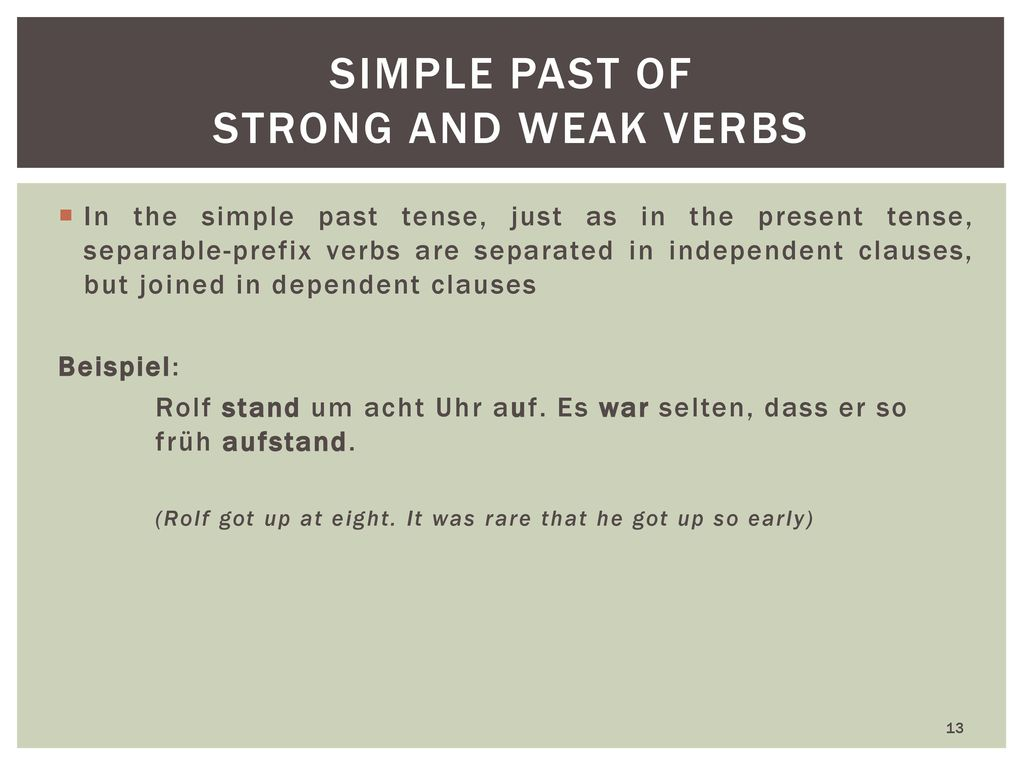 simple past of strong and weak verbs