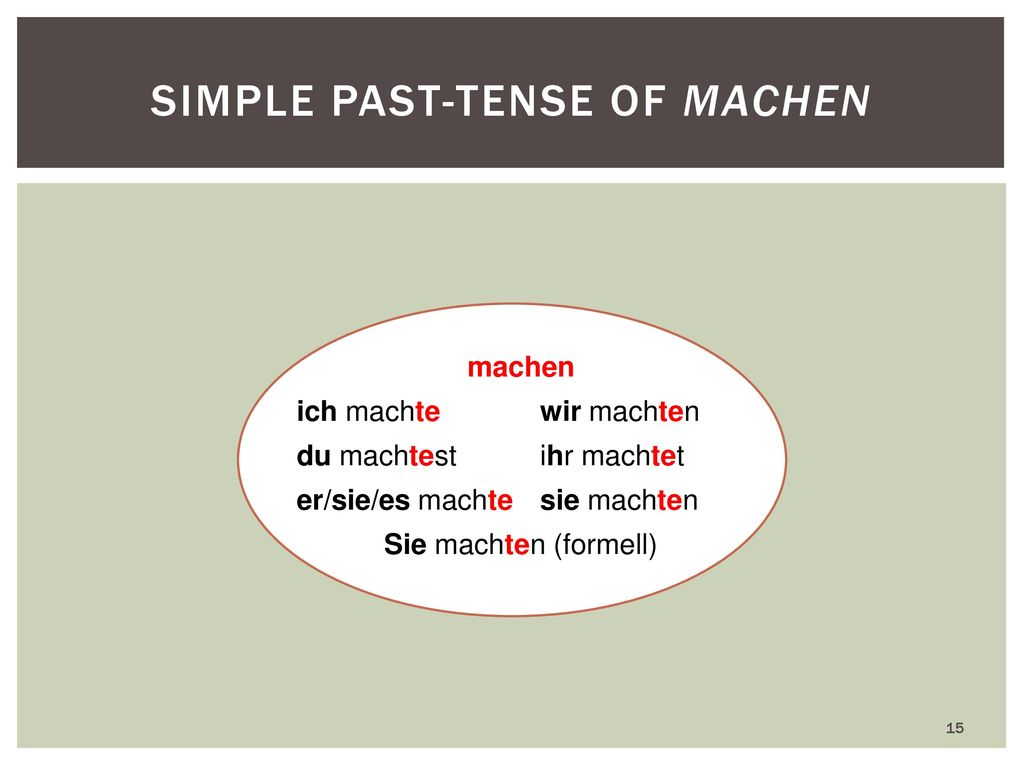 Simple past-tense of machen