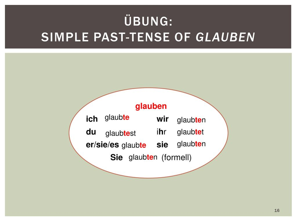 Übung: Simple past-tense of glauben