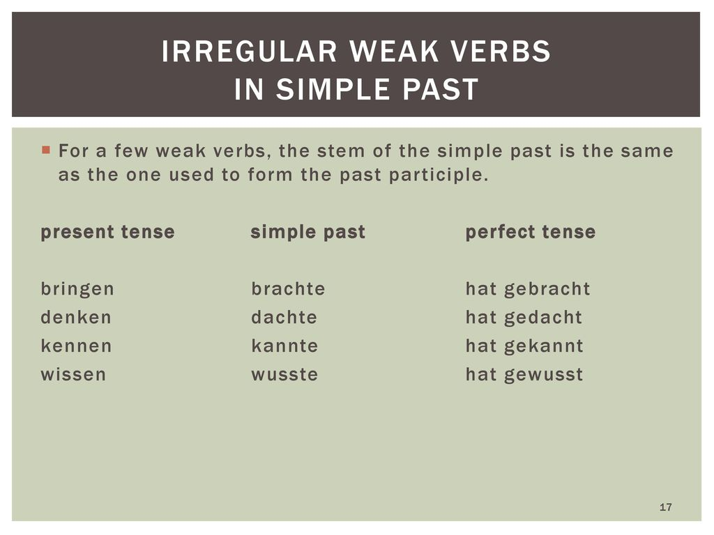 Irregular weak verbs in simple past