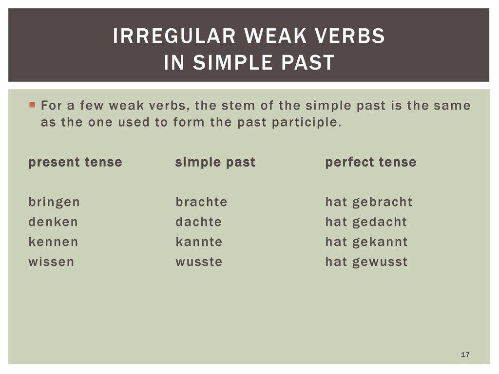 Irregular weak verbs in simple past