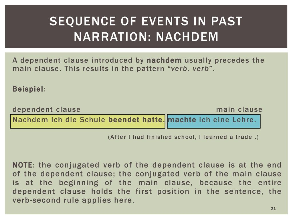sequence of events in past narration: nachdem