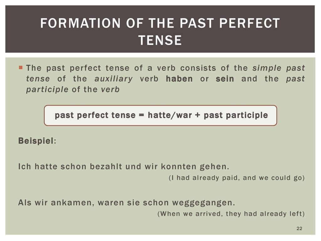 formation of The past perfect tense