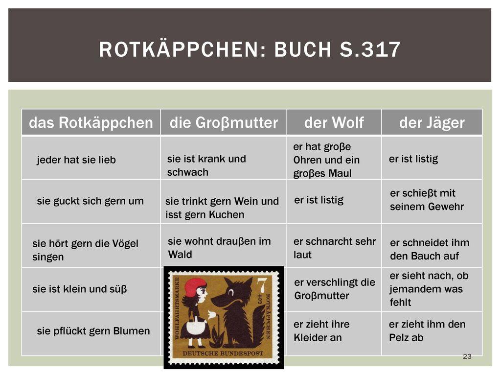 Rotkäppchen: Buch S.317 das Rotkäppchen die Groβmutter der Wolf