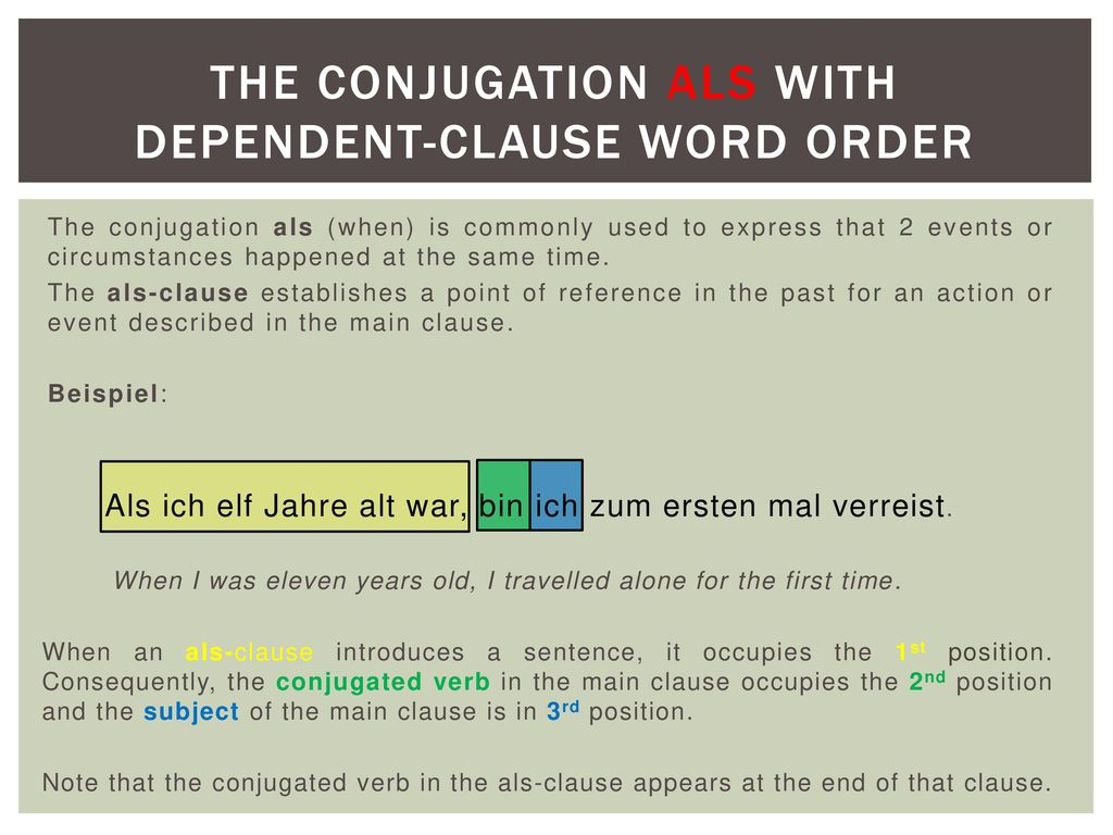The conjugation als with dependent-clause word order
