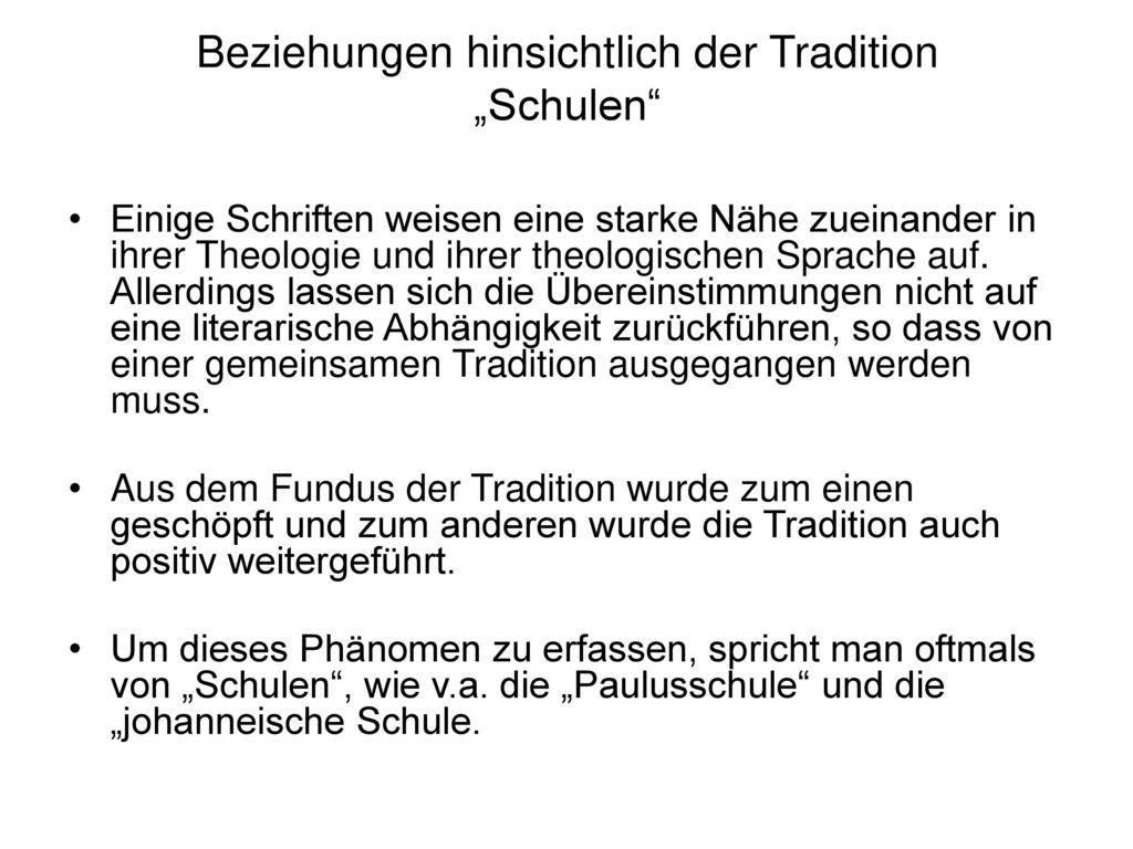 """Beziehungen hinsichtlich der Tradition """"Schulen"""