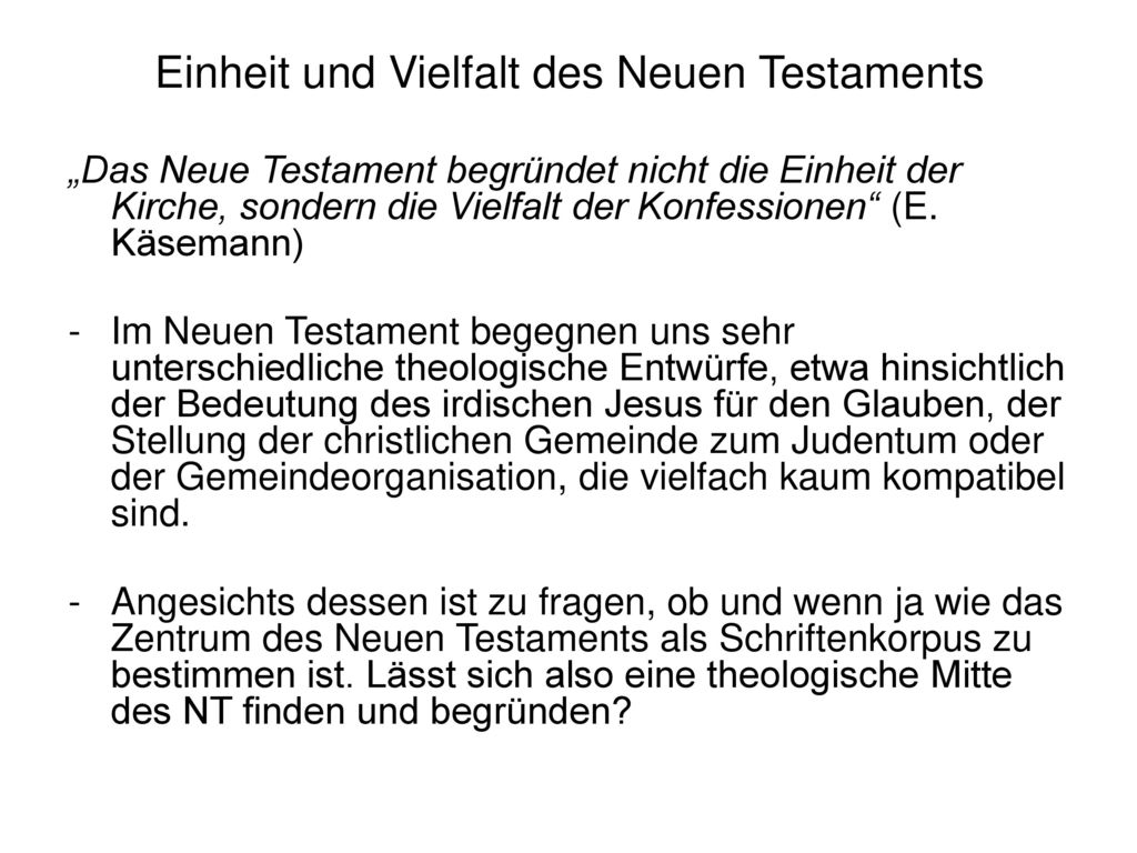 Einheit und Vielfalt des Neuen Testaments