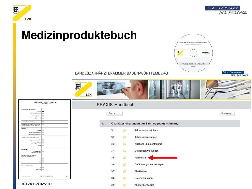 Medizinproduktebuch © LZK BW 02/2015