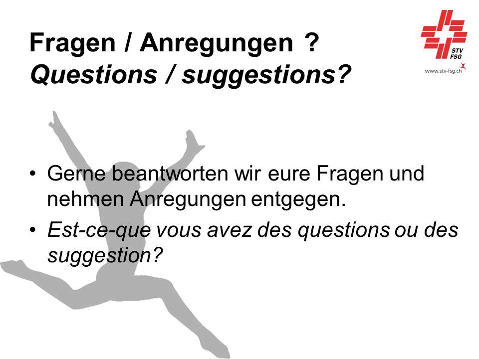 Fragen / Anregungen Questions / suggestions
