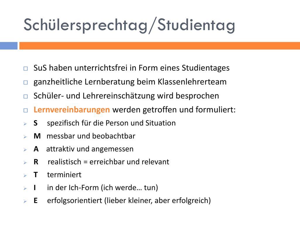 Schülersprechtag/Studientag